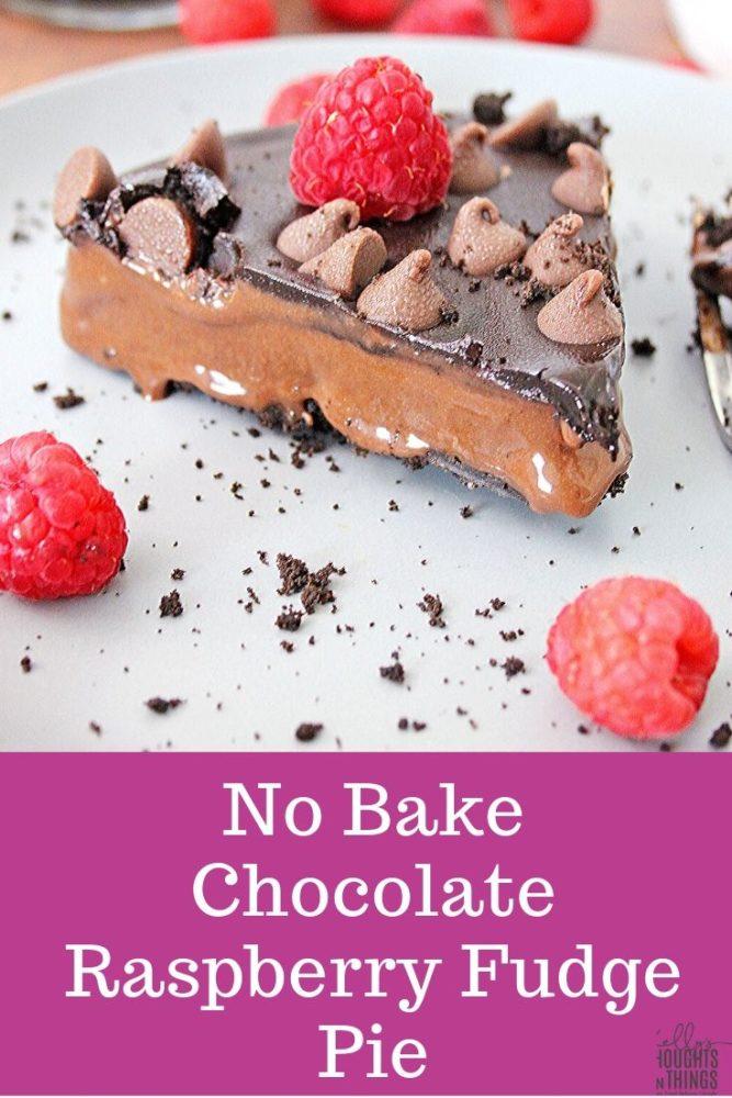 No Bake Chocolate Raspberry Fudge Pie on a plate