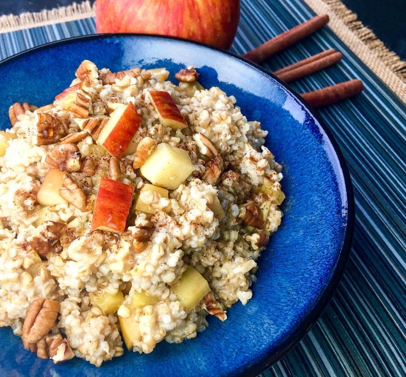 Slow Cooker Apple-Cinnamon Oatmeal in a blue bowl