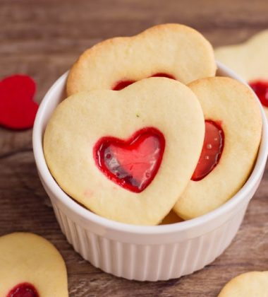 heart cookies on bowl on table