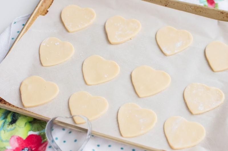 heart dough on a sheet