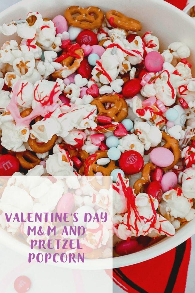 Valentine's Day M&M and Pretzel Popcorn in a bowl