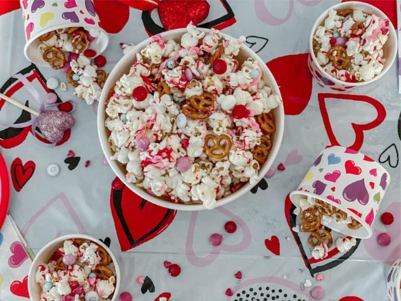 Valentine's Day M&M and Pretzel Popcorn