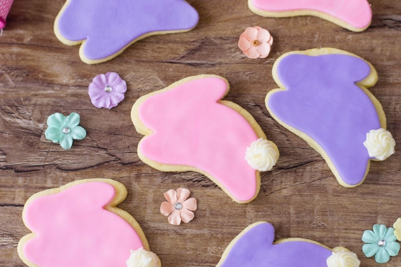 Bunny cookies on a brown board