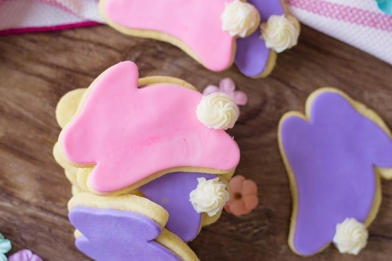pink and purple bunny sugar cookies