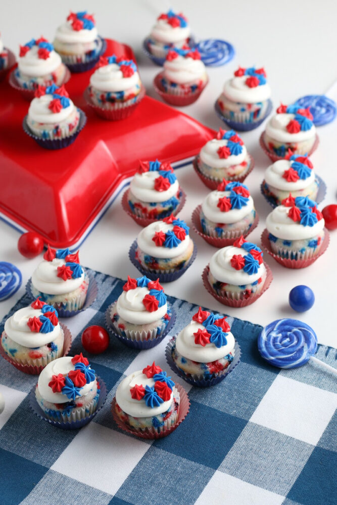 Red, white and blue mini cupcakes