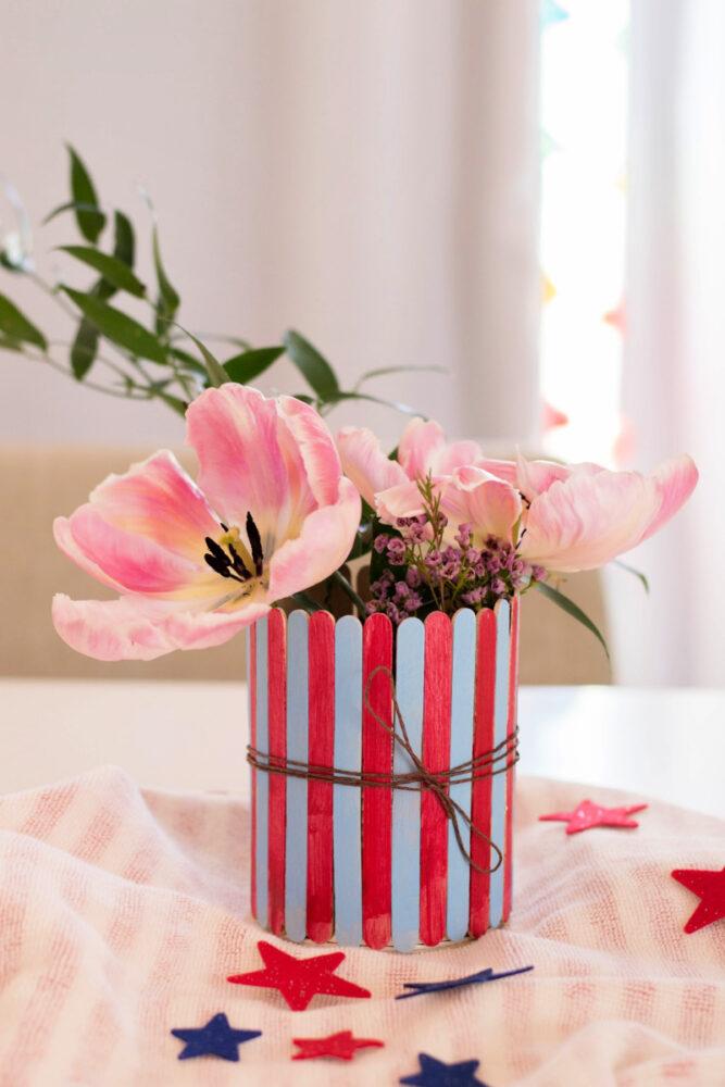 Patriotic Popsicle Stick Vase