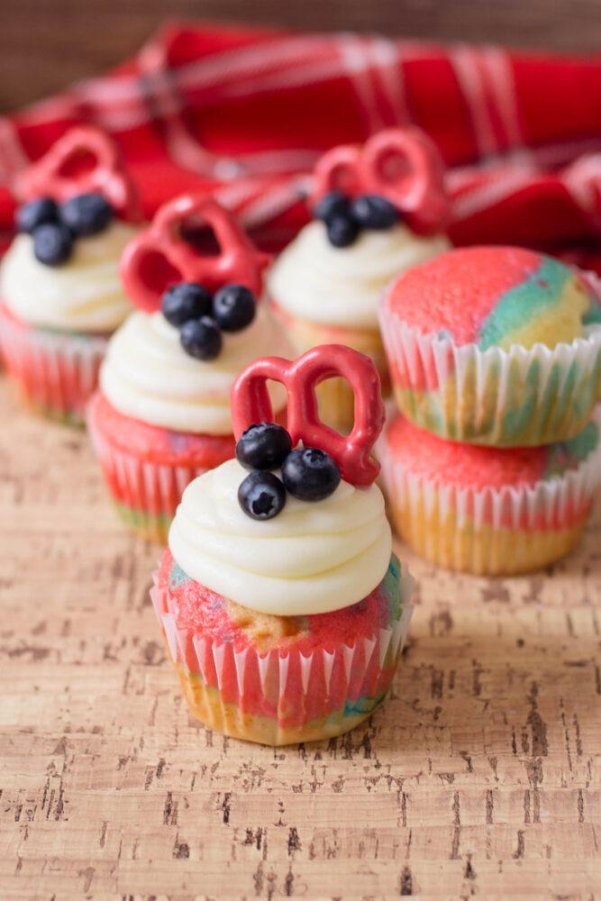 Tie Dye Patriotic Cupcakes