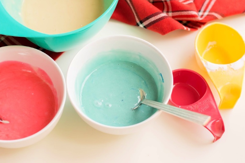 Bowls with batter and food dye