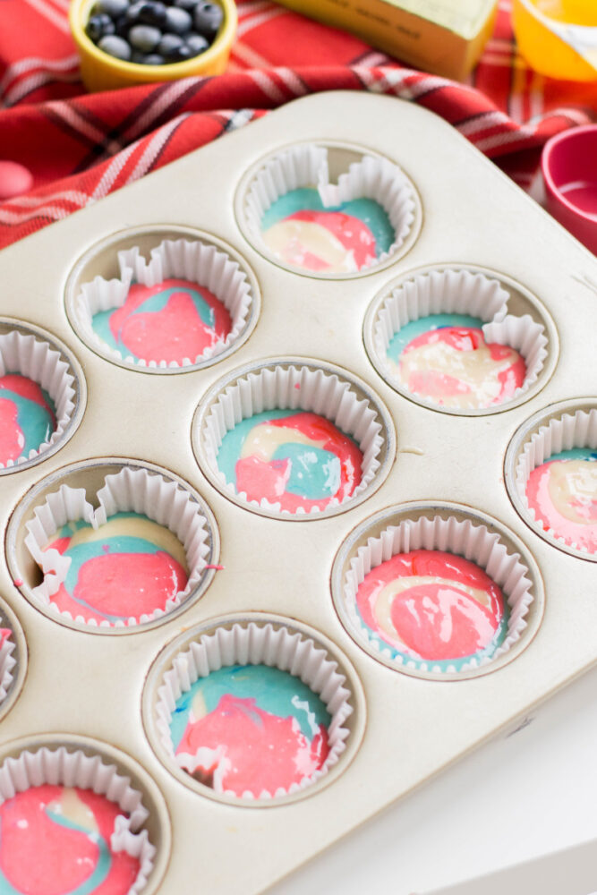 Tie Dye Patriotic Cupcakes filled muffin pan