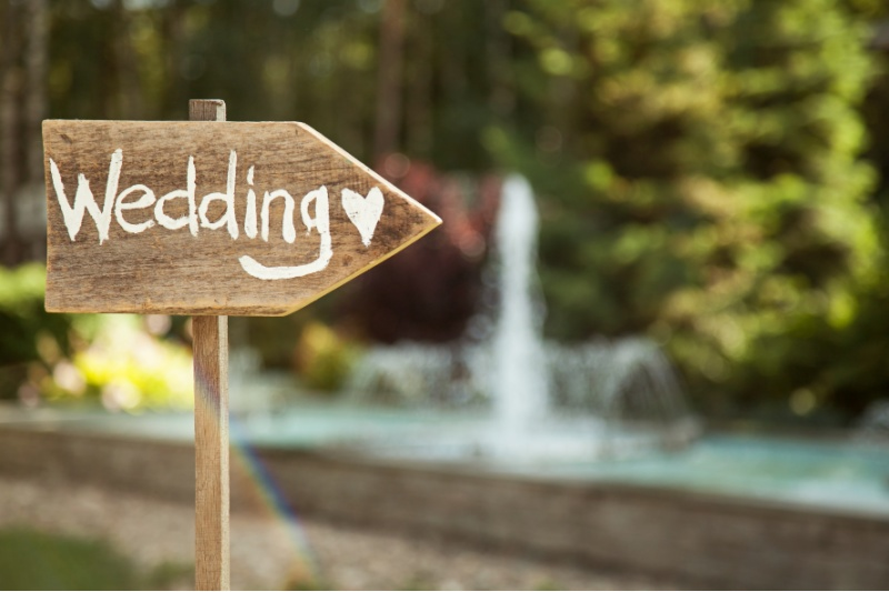 Sign with Wedding on it