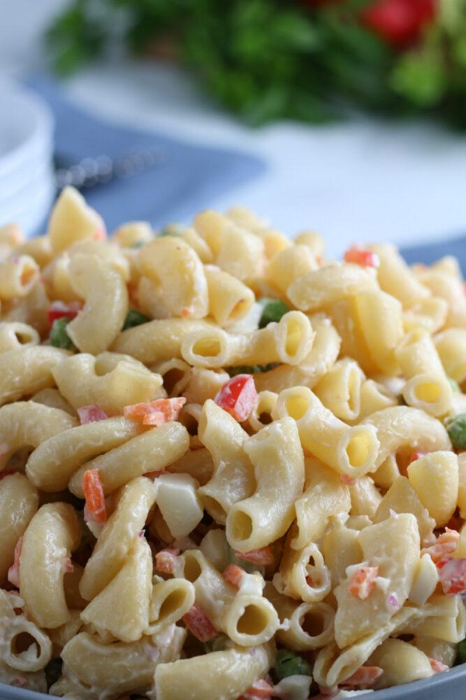 Close up of macaroni salad