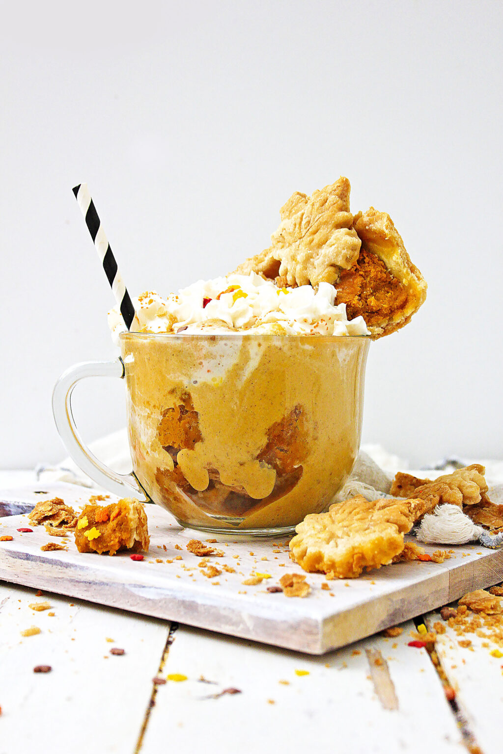 Pumpkin Pie Milkshake on white table