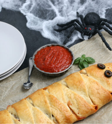 Mummy Calzone on a table