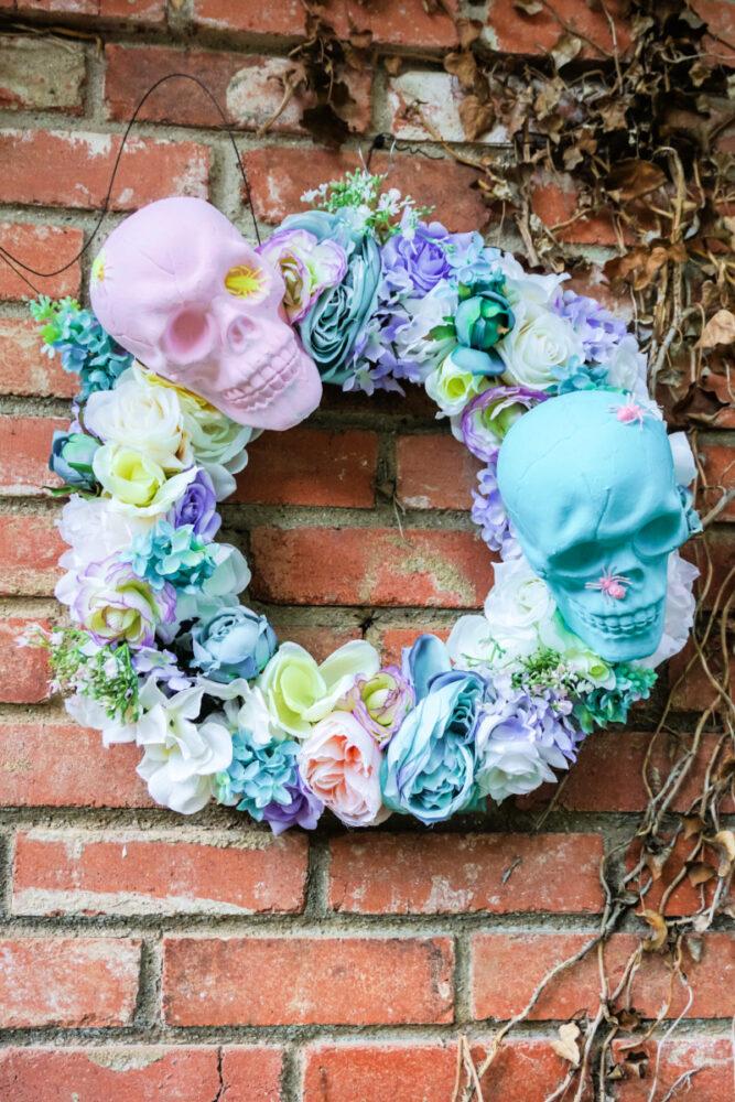 skull wreath on a wall