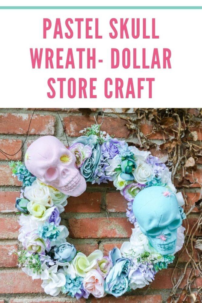 Pastel Skull Wreath Pin