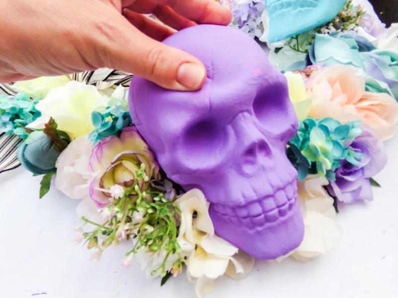 Pastel Skull Wreath- Dollar Store Craft
