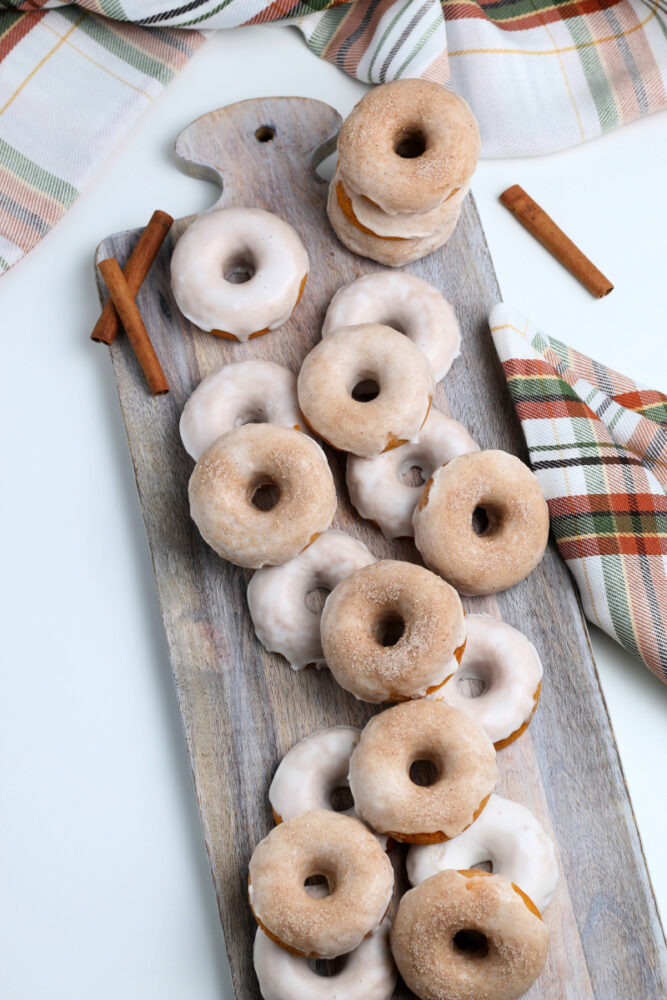 donuts on a brown board
