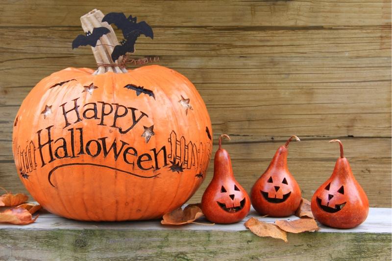 Happy Halloween on a pumpkin