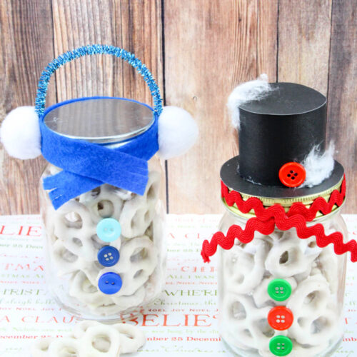 Snowmen Pretzel Jars