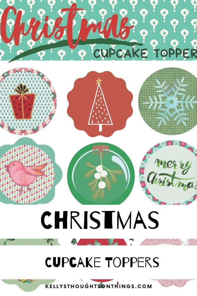 DIY Christmas Cupcake Toppers Printable