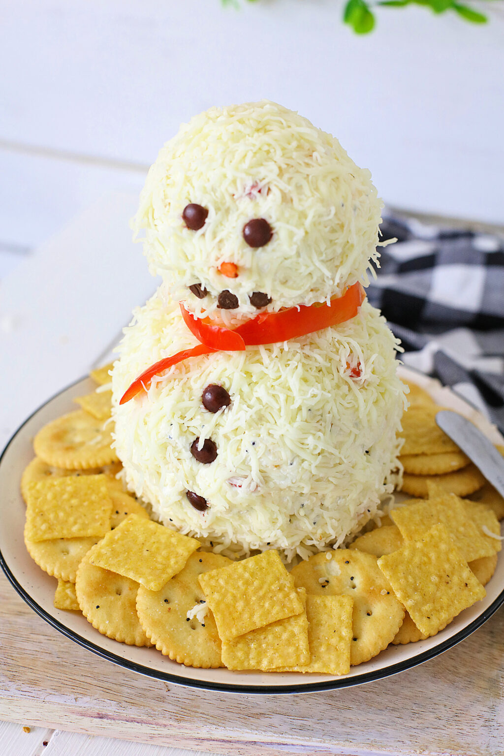 Everything Bagel Snowman Cheese Ball