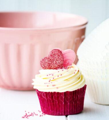 Cupcake and baking bowl