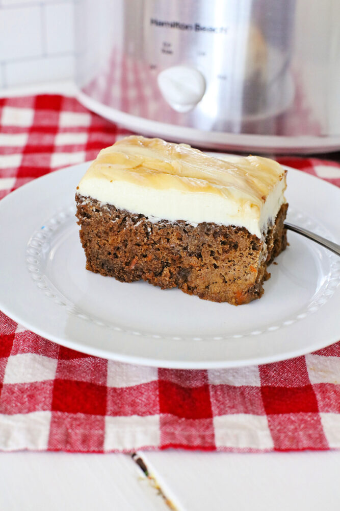 Crock Pot Carrot Cake with Caramel Dolce Cream Cheese Frosting