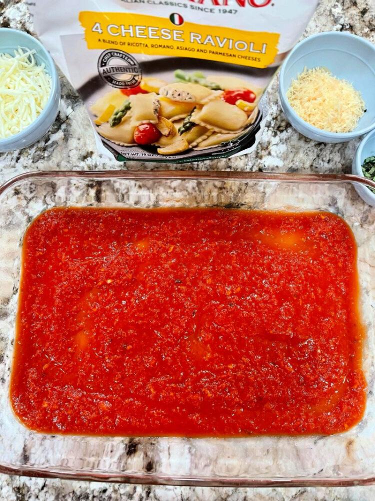 Sauce on bottom of pan.