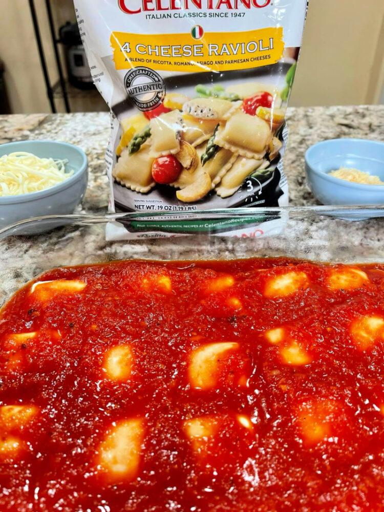 sauce on Five-ingredient Ravioli Lasagna