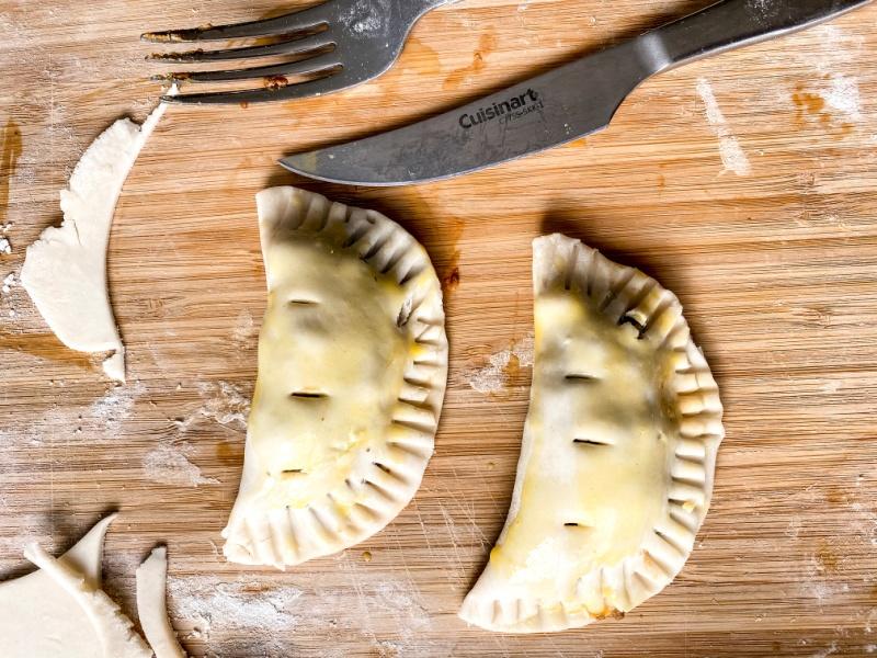 Irish Meat Pies on a wood board