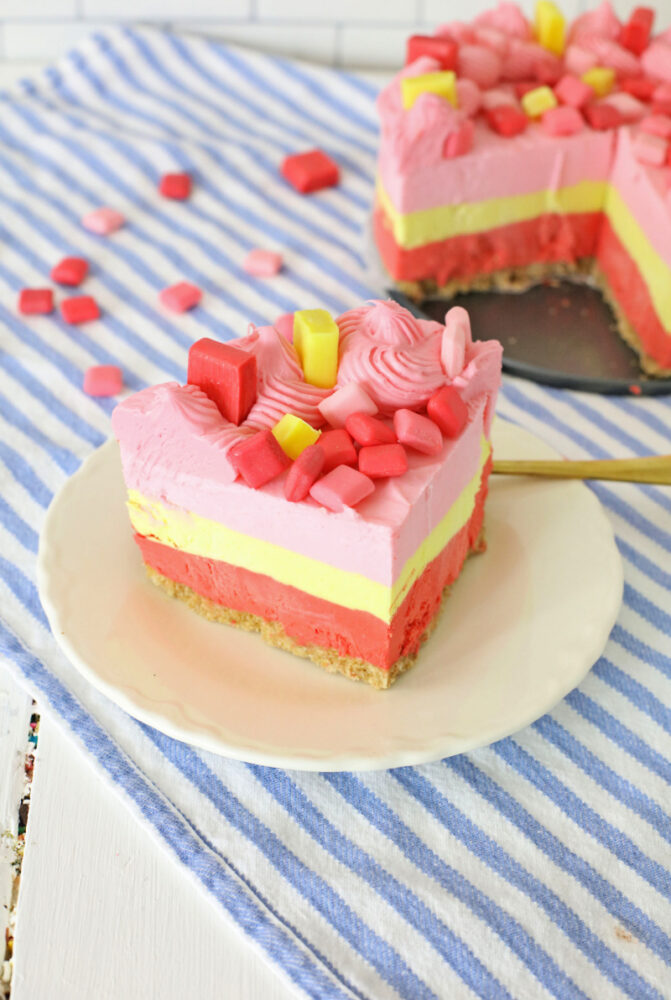 Starburst cheesecake slice on a plate
