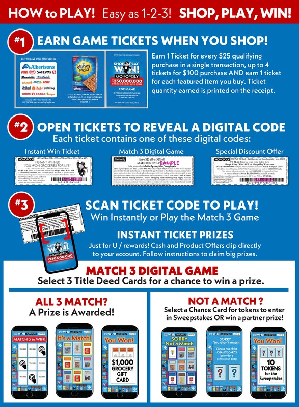 Albertsons Shop, Play, Win! Monopoly Is Here