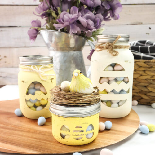 Chalky Painted Easter Candy Jars-