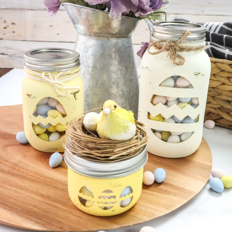 yellow jars with candy inside