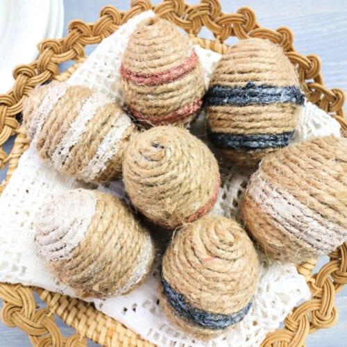 twine eggs in a basket