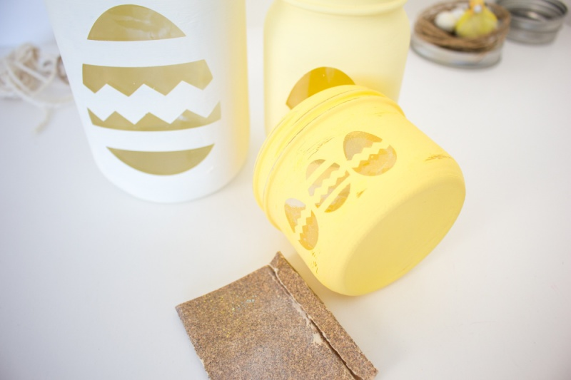 Cricut Chalky Painted Easter Candy Jars