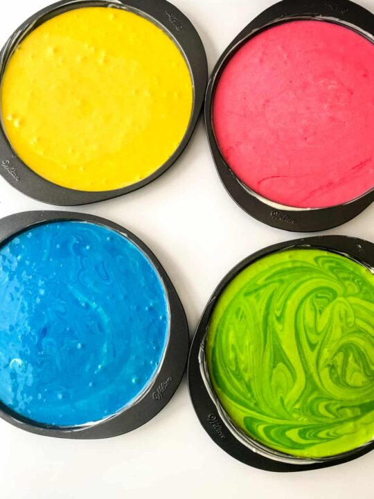 Food coloring in cake batter