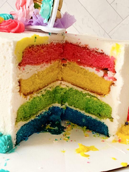 inside of a unicorn cake