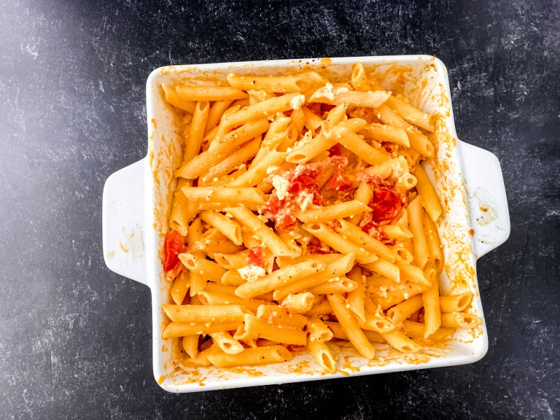 TikTok Viral Feta Pasta on a black table