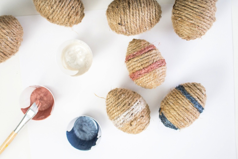 Twine-Wrapped Plastic Eggs Craft