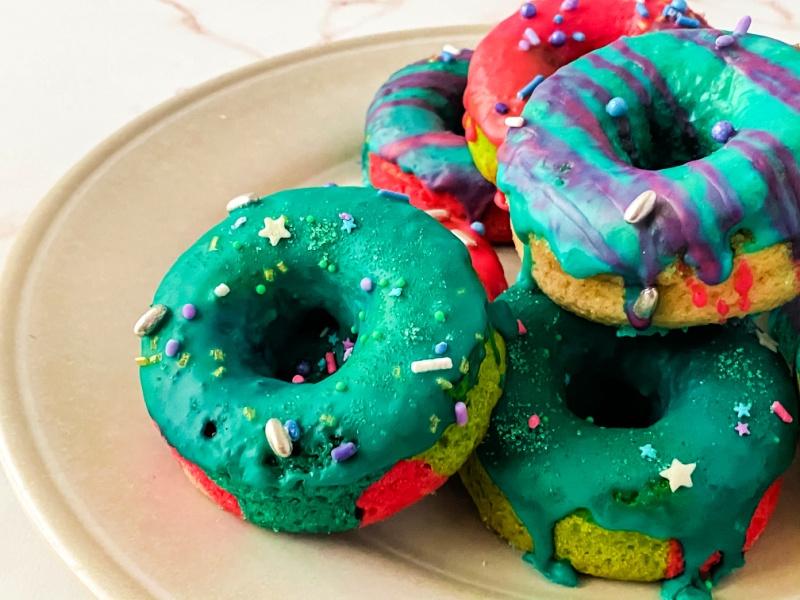 Unicorn Baked Cake Donut on a plate