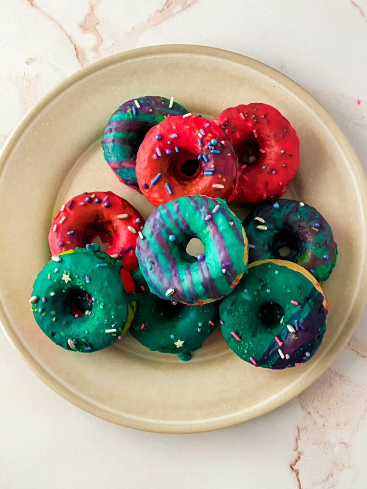 donuts on a cream plate