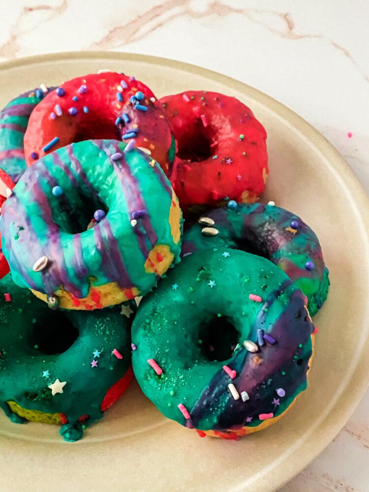 Unicorn Baked Cake Donut with sprinkles
