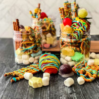 candy and pretzels in a jar