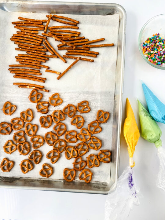melted chocolate and pretzels