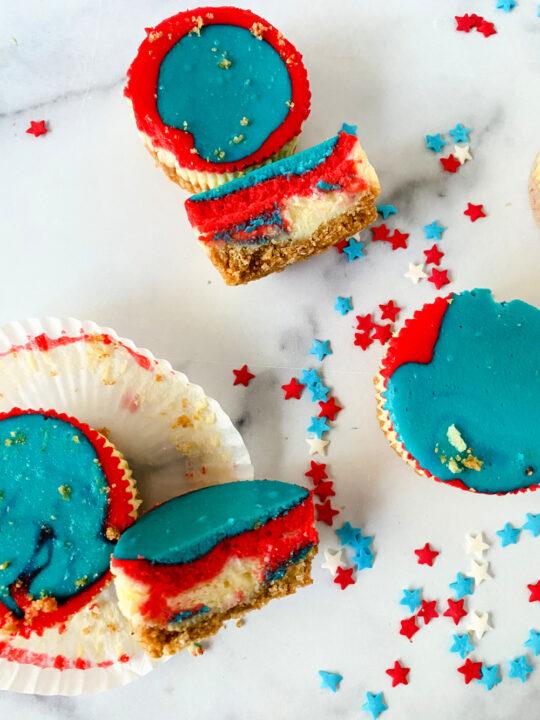 Blue Patriotic Mini Cheesecakes