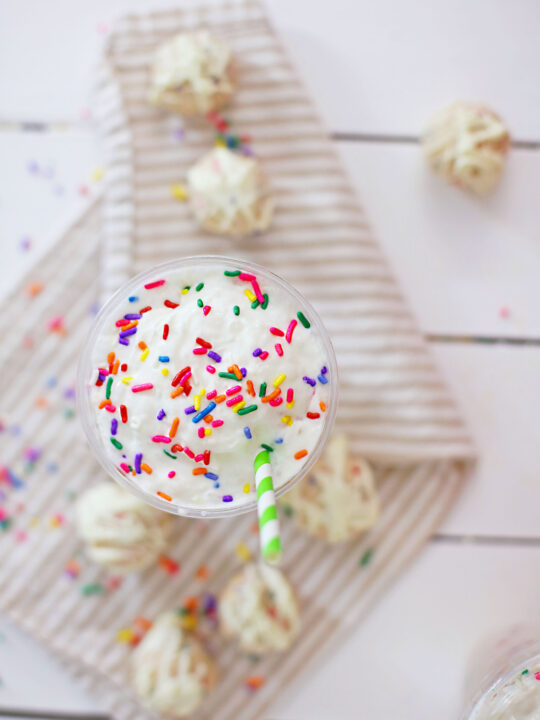 sprinkles and drink on a table