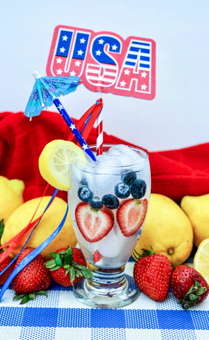 Lemonade drink in a glass with USA on wall