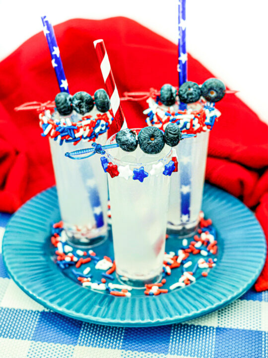Lemonade Shooters with sprinkles and fruit