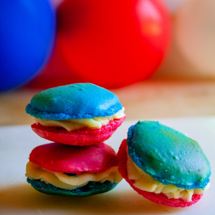 Red White and Blue 4th of July Macarons on a white plate